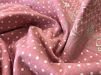 Фланелева (байкова) простирадло на гумці, Горох на рожевому, будь-які розміри, з наволочк.і без,турецька тканина