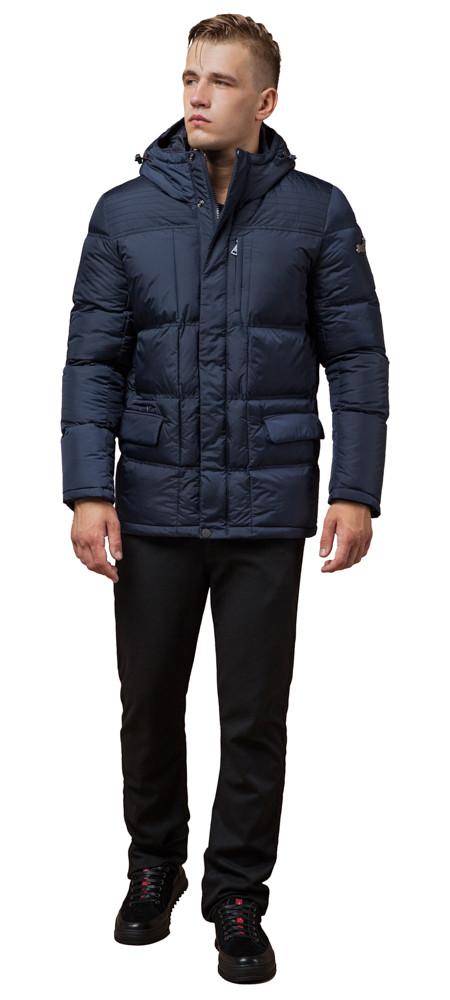 Фірмова зимова куртка чоловіча колір темно-синій модель 2609 (ЗАЛИШИВСЯ ТІЛЬКИ 46(S))