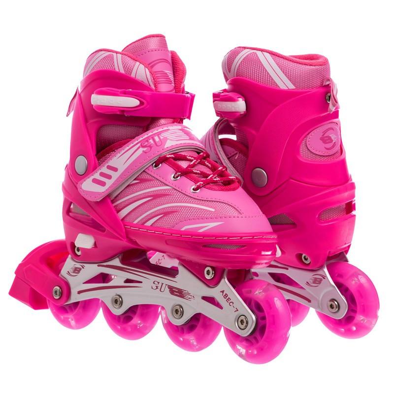 Роликовые коньки раздвижные JINGFENG розовые SK-857, 31-34