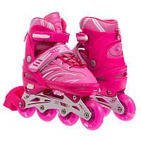 Роликовые коньки раздвижные JINGFENG розовые SK-857, 31-34, фото 1