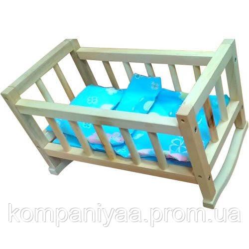 Ліжечко для ляльок дерев'яне з постільною білизною 00210