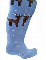 Колготки детские махровые р.128-134 Легка хода голубые с оленями