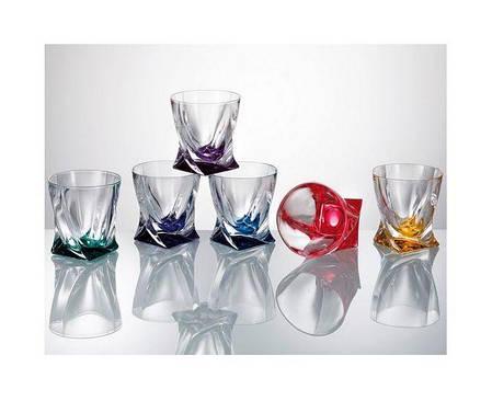 Набір склянок для віскі кольорові Bohemia Quadro 99999/72R93/932 340 мл 6 шт, фото 2