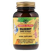 Черника Экстракт, Bilberry Berry Extract, Solgar, 60 вегетарианских капсул