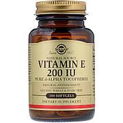 Витамин Е, 200 МЕ, Vitamin E 200 IU, Solgar, 100 желатиновых капсул