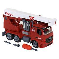 Пожарная машина-конструктор детская игрушка с отверткой Diy Assembly Красный (26136)