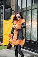 Женский кожаный зимний пуховик с мехом. Модель 05128, фото 2