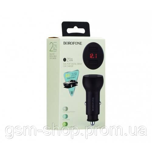 Автомобільний Зарядний Пристрій Borofone BZ9A Digital Display 2USB 3.1A (Чорний)