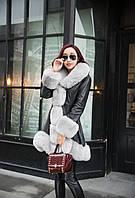 Женский кожаный зимний пуховик с мехом. Модель 05128, фото 3