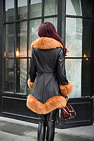 Женский кожаный зимний пуховик с мехом. Модель 05128, фото 5