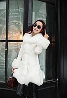 Женский кожаный зимний пуховик с мехом. Модель 05128, фото 7