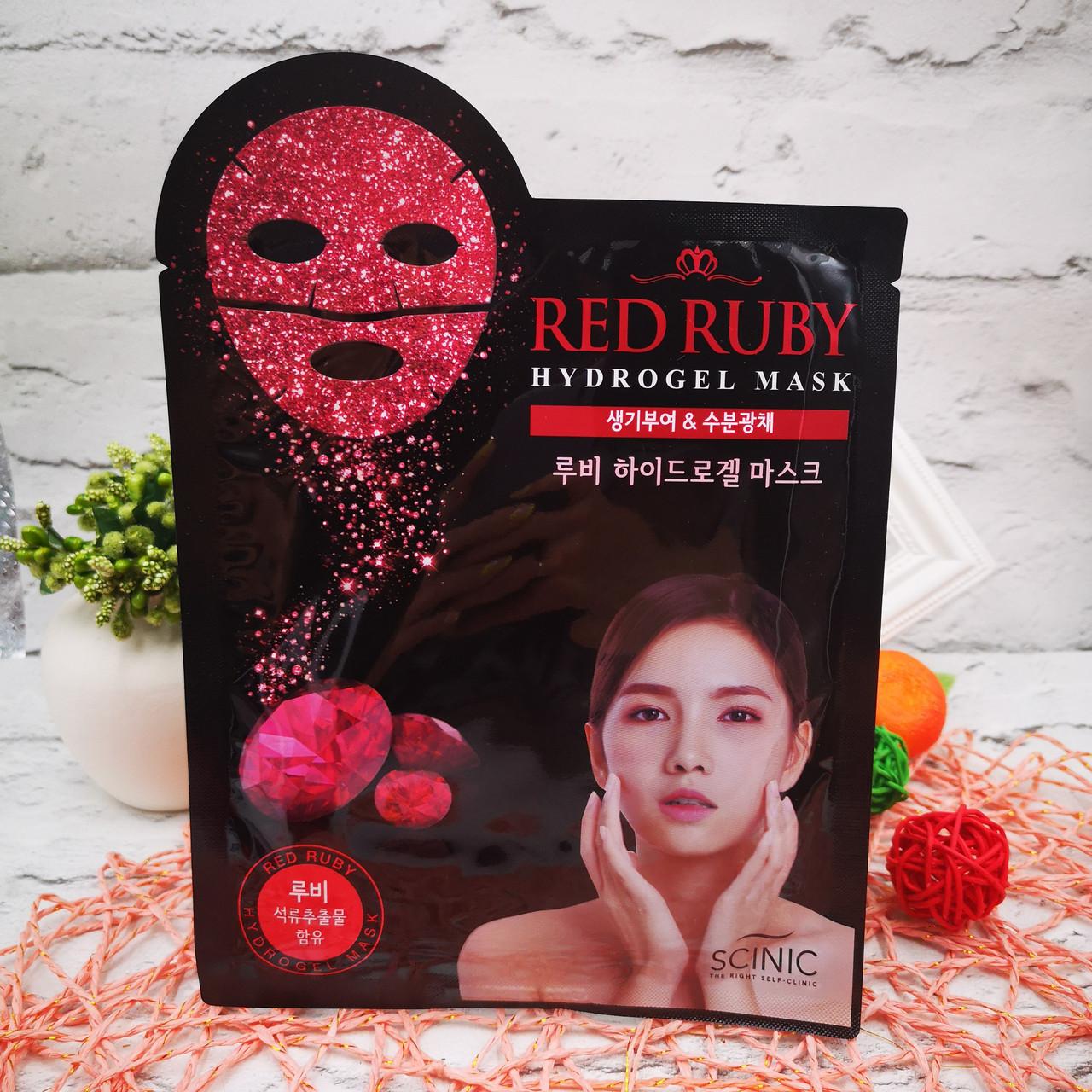 Гідрогелева маска для обличчя з частинками рубіна SCINIC Red Ruby Hydrogel Mask