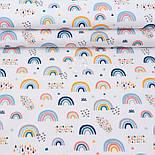 """Клапоть попліну """"Різнобарвна веселка"""" на білому фоні (№3313), розмір 26*120 см, фото 2"""