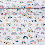 """Лоскут поплина """"Разноцветная радуга"""" на белом фоне (№3313), размер 26*120 см, фото 2"""