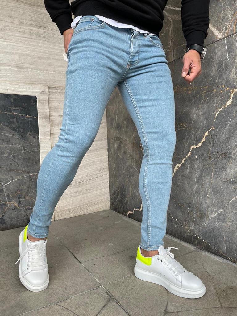 Чоловічі джинси завужені Скіні світло-сині/ 2 кольори в наявності 30, Світло-синій