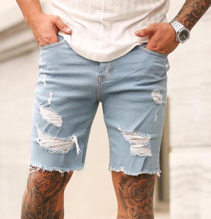 Мужские шорты джинс светло-синие рваные