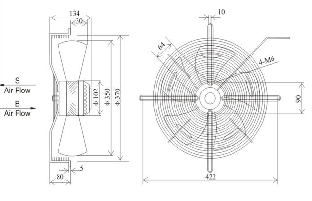 Осевой промышленный вентилятор 350 B/S