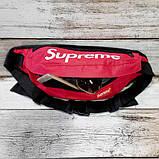 Нагрудна сумка - бананка Supreme червона, фото 2