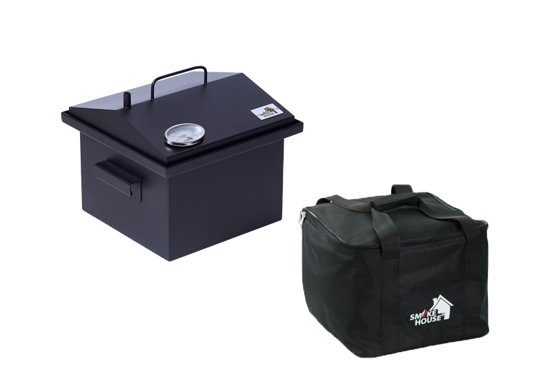 Коптильня горячего копчения с гидрозатвором и термометром, сумкой окрашенная 300х300х250