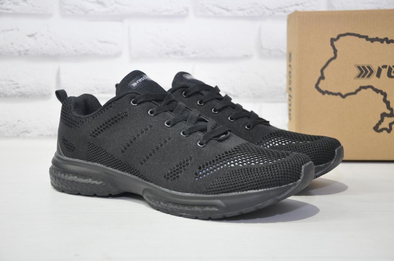 Чоловічі чорні легкі кросівки сітка Restime великі розміри:46,47