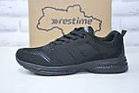 Чоловічі чорні легкі кросівки сітка Restime великі розміри:46,47, фото 5