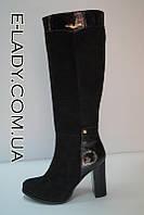 Сапоги зимние на высоком каблуке, комбинированные замша и лак