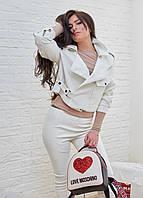 Куртка женская белая екокожа Италия