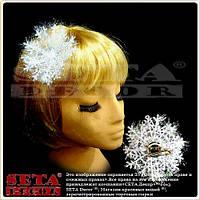 Заколка для волос Белая Снежинка новогодняя (элемент новогоднего костюма Снежинка)