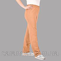 Брюки широкі жіночі прямі з бежевої двунитки розмір 50,52,54,56