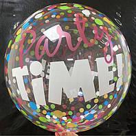 """Шар баблс с рисунком """"Party Time"""" 45 см"""