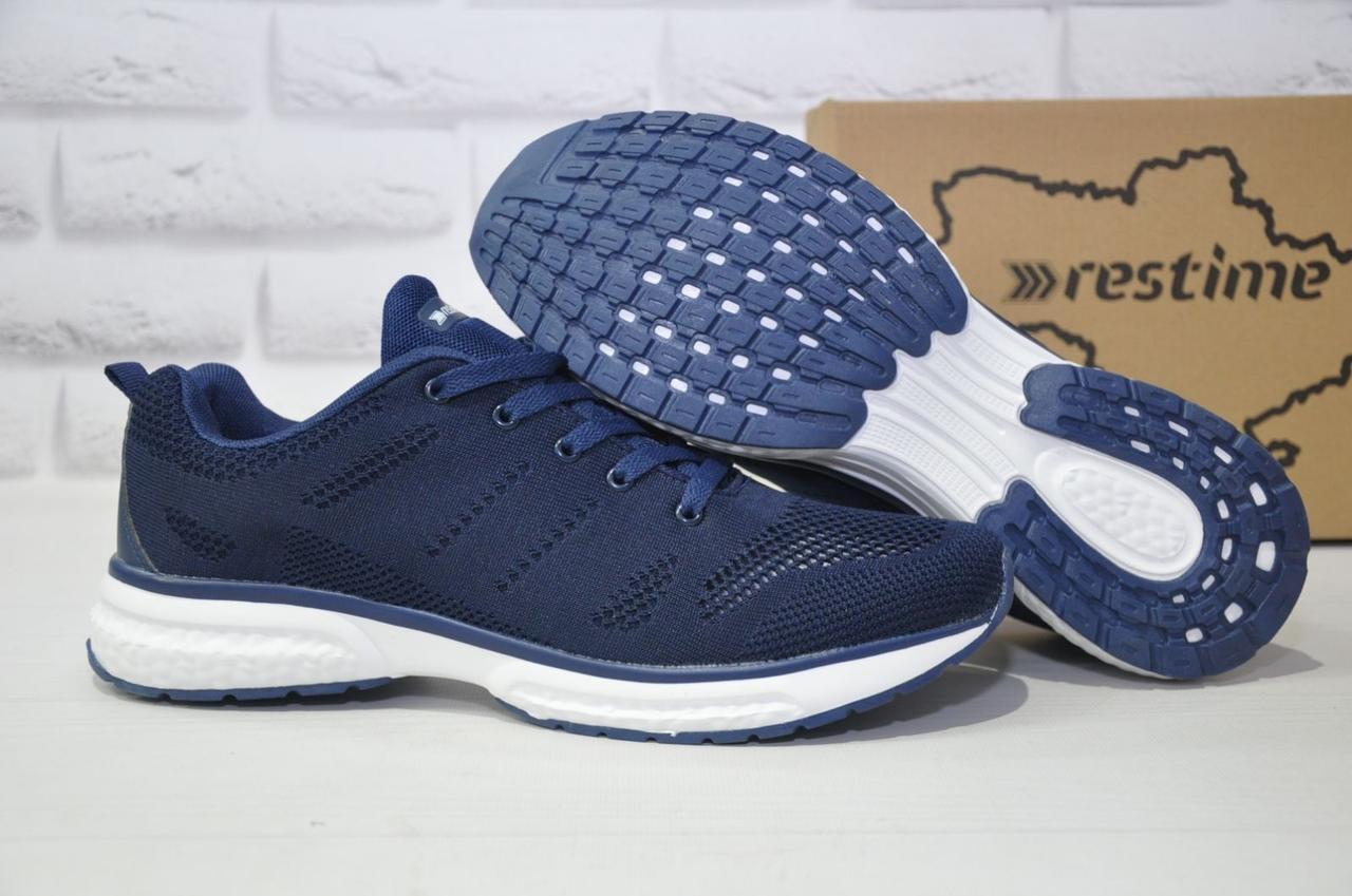 Чоловічі сині легкі кросівки сітка Restime великі