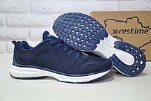 Мужские лёгкие синие кроссовки сетка Restime большие размеры