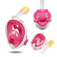 Инновационная маска для снорклинга подводного плавания Easybreath, Маска для ныряния S/M розовая
