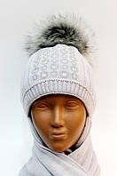 Зимняя вязаная шапка с шарфом