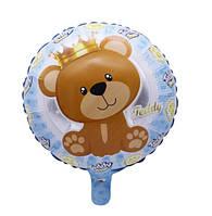 Фольгированный шар мишка Тедди с короной (Китай)
