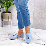 ТІЛЬКИ 36 р! Стильні мокасини / лофери жіночі блакитні натуральна шкіра, фото 2