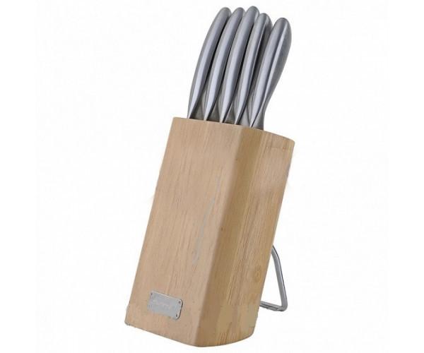 Набір ножів 6 предметів з нержавіючої сталі з порожніми ручками і дерев'яною підставкою Kamille 5133