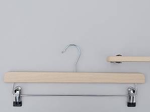 Плечики длиной 39,5 см вешалки деревянные ЕСО с прищепками зажимами для брюк и юбок