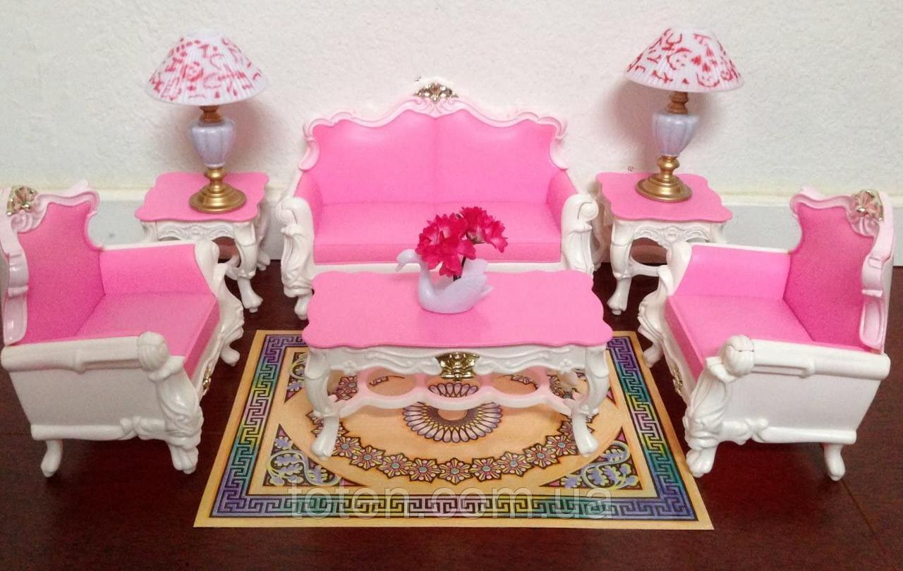 Кукольная мебель Gloria Гостинная для куклы 2317, диван, кресла, столик, аксессуары Т