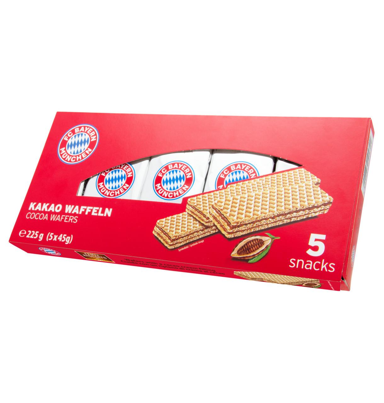 Вафлі FC Bayern Munich Wafers with chocolate cream (5x45г), з шок. кремом 225г, 14шт/ящ