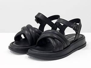 """Дизайнерские """"дутые"""" босоножки на платформе, выполнены из натуральной итальянской кожи черного цвета"""