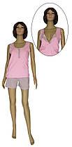Пижама трикотажная для кормящих, майка и шорты 19022 Snap коттон Серо-розовая