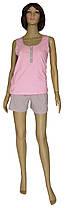 Пижама женская трикотажная, майка и шорты 19022 Snap коттон Серо-розовая