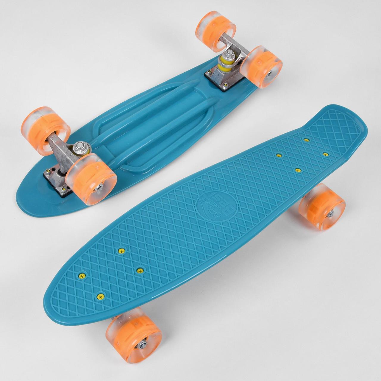 """Скейт Пенні борд (Penny Board) 22"""" Best Board світло колеса блакитний"""