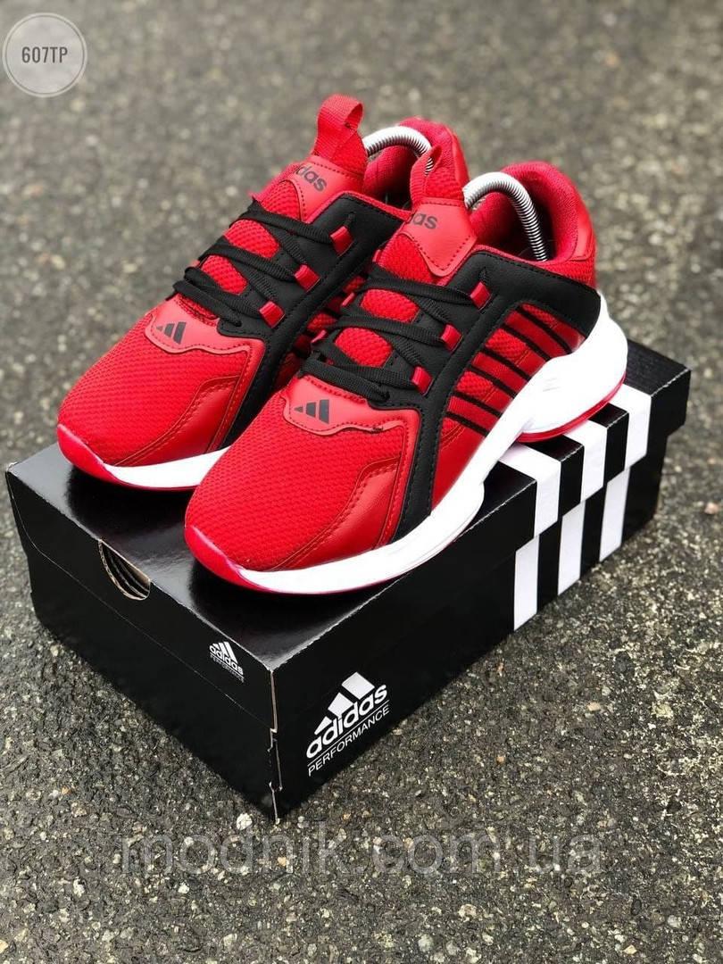 Мужские кроссовки Adidas (красные) 607TP легкие кроссы на весну и лето СЕТКА