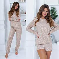 Жіноча стильна піжама трійка: кофта, штани і шорти