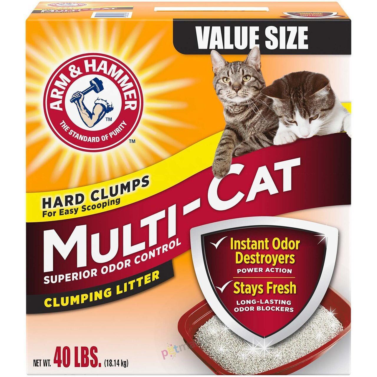 Бентонитовый наполнитель Arm&Hammer MULTICAT 18,14 кг комкующийся для кошачьего туалета, ароматизированный