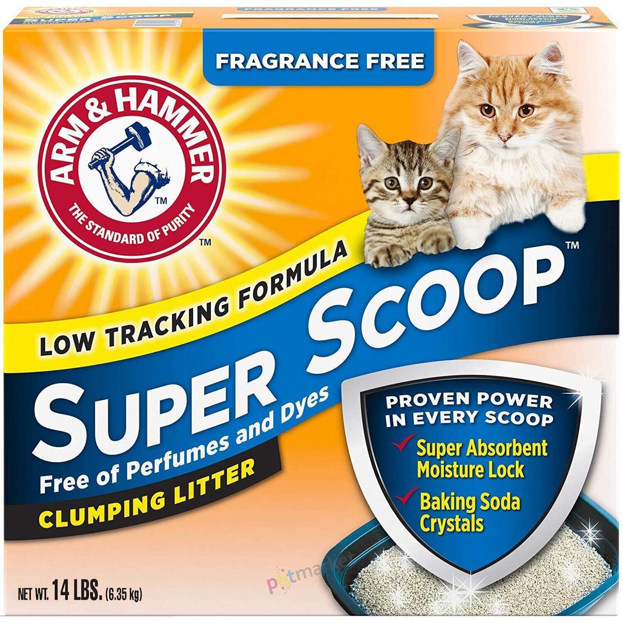 Бентонитовый наполнитель Arm&Hammer SUPER SCOOP 6,35 кг комкующийся для кошачьего туалета без аромата
