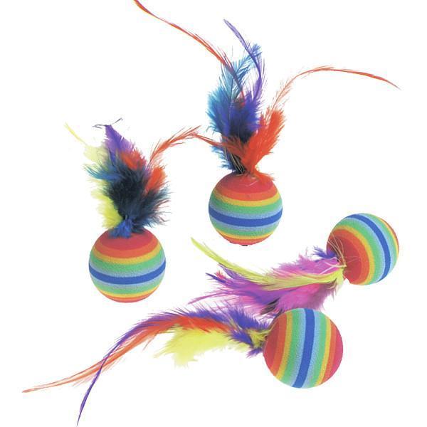 Flamingo (ФЛАМИНГО) RAINBOW BALLS яркая игрушка для кошек, мяч с перьями, резина, 3см 3 см, 4 ед.