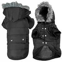 Flamingo Polar Black ФЛАМИНГО ПОЛАР одежда для собак, куртка с капюшоном, черный 38 см